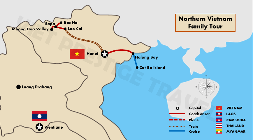 Northern Vietnam Map.Northern Vietnam Family Tour Vietnam Family Holidays
