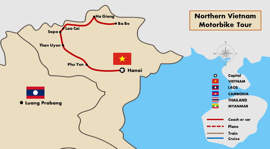 Northern Vietnam Map.Northern Vietnam Motorbike Tour Vietnam Motor Holidays